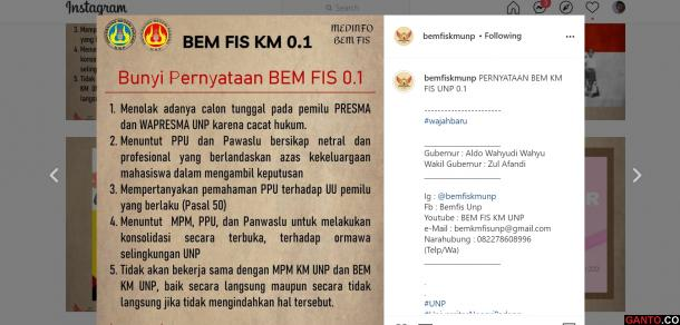 BEM FIS UNP Keluarkan Pernyataan Tolak Calon Tunggal Pemilu...