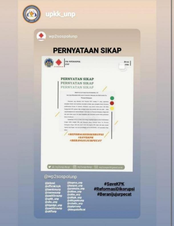 Pernyataan Sikap WP2SOSPOL Atas Upaya Pelemahan KPK