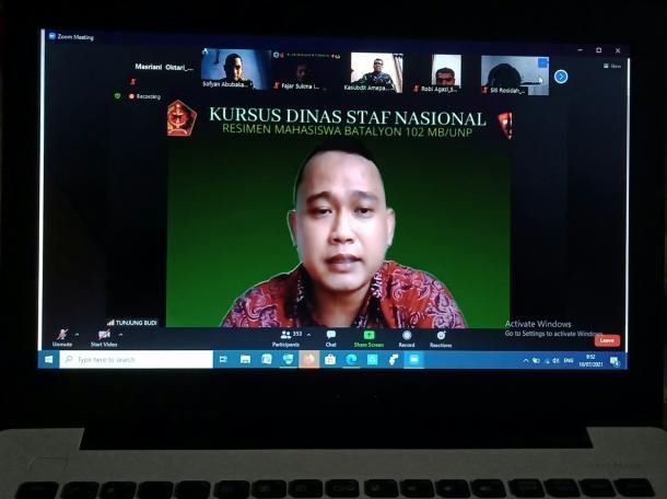 Menwa Batalyon 102 Maha Bhakti UNP Adakan Kursus Dinas Staf Nasional Secara Virtual