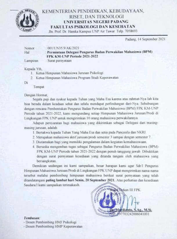 Fakultas Baru FPK UNP Bentuk BPM Angkatan Pertama