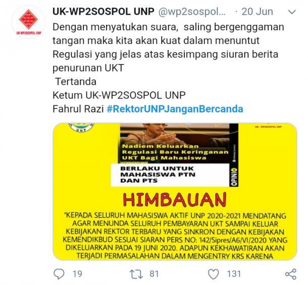 Tagar #RektorUNPJanganBercanda, Nia: Bukan WP2SosPol yang Menginisiasi Tagar Tersebut