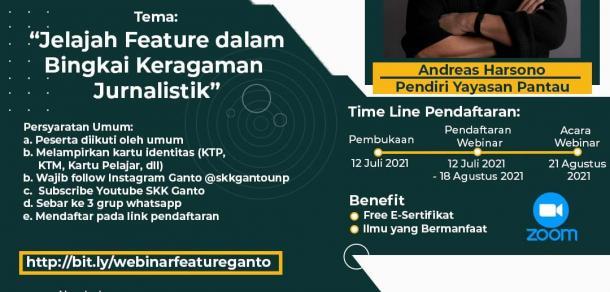 SKK Ganto Adakan Webinar Menulis Feature, Berikut Persyaratannya.
