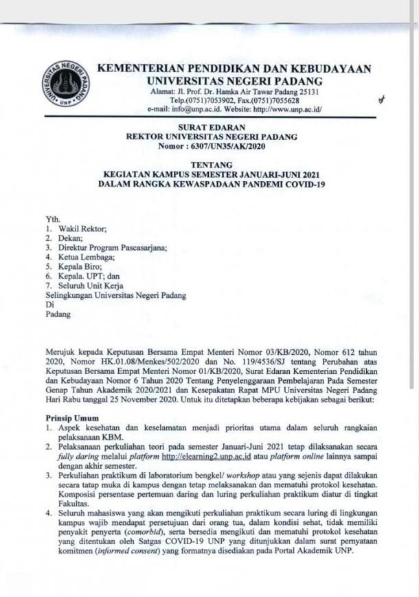 Genefri Keluarkan Surat Perpanjangan Perkuliahan Daring Semester Januari-Juli 2021
