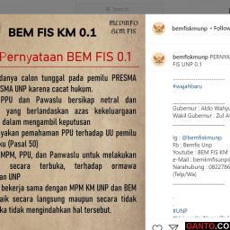 BEM FIS UNP Keluarkan Pernyataan Tolak Calon Tunggal Pemilu Presma