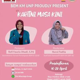 Peringati Hari Kartini, BEM UNP Adakan Diskusi Online