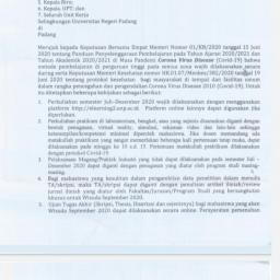 Sepuluh Keputusan Rektor UNP Mengenai Perkuliahan Semester Juli-Desember 2020