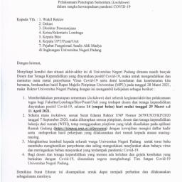 UNP Kembali Lockdown Pasca Sejumlah Dosen dan Tendik Terkonfirmasi Covid-19